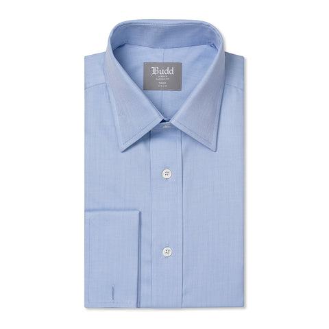 Budd Tailored Fit Herringbone Twill Double Cuff Shirt in Sky Blue