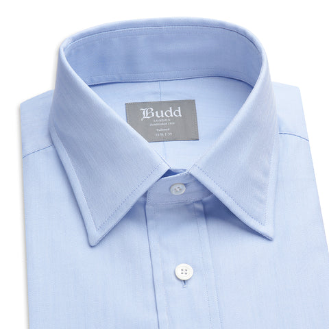 Budd Tailored Fit Herringbone Twill Double Cuff Shirt in Sky Blue-Ready Made Shirt-Sterling-and-Burke
