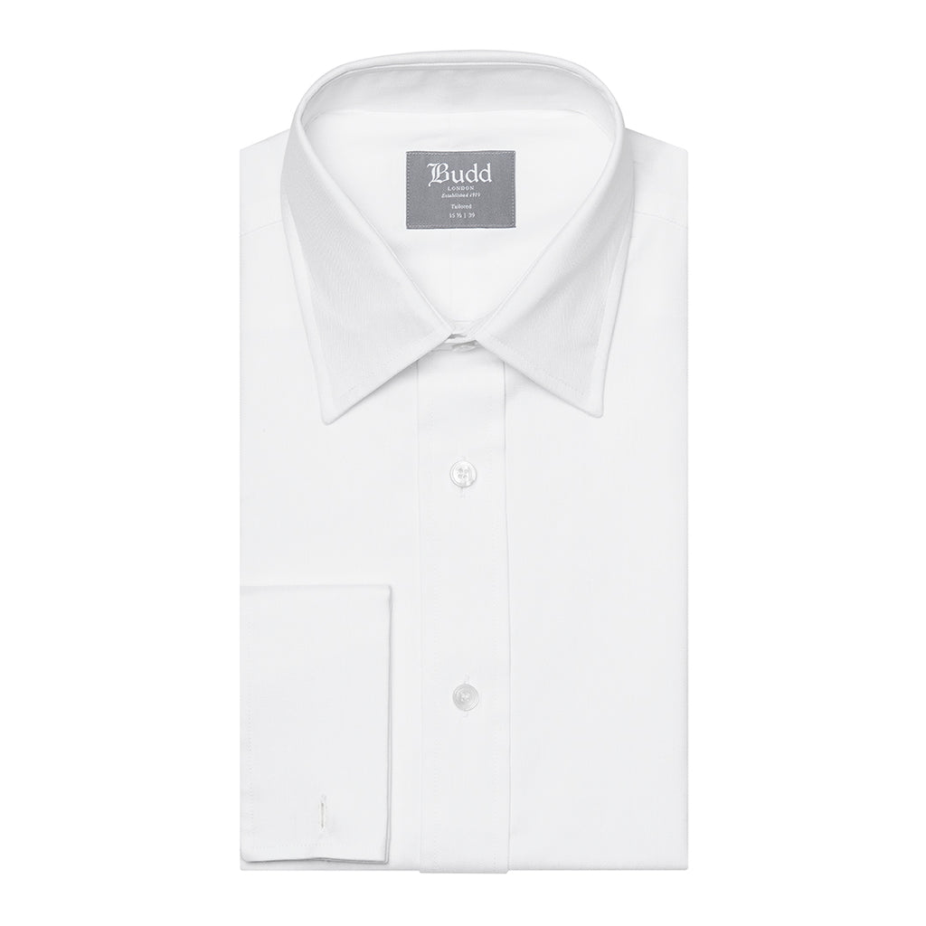 Budd Tailored Fit Herringbone Twill Double Cuff Shirt in White-Ready Made Shirt-Sterling-and-Burke