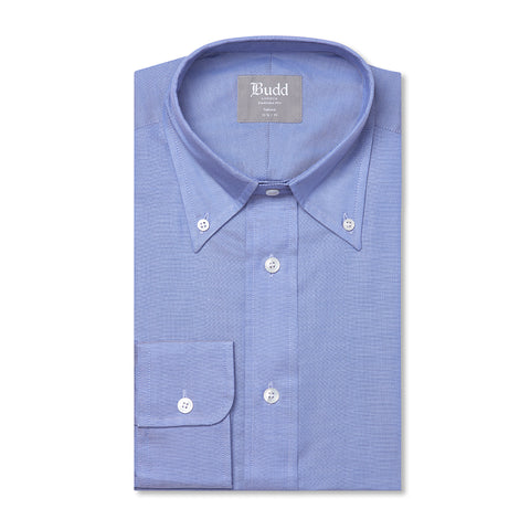 Budd Tailored Fit Plain Oxford Button Cuff Shirt in Blue