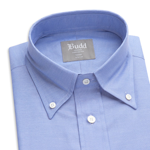 Budd Tailored Fit Plain Oxford Button Cuff Shirt in Blue-Ready Made Shirt-Sterling-and-Burke