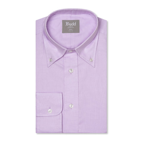 Budd Tailored Fit Plain Oxford Button Cuff Shirt in Lilac