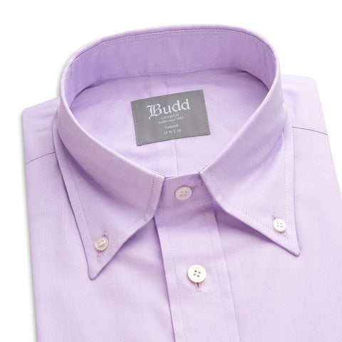 Budd Tailored Fit Plain Oxford Button Cuff Shirt in Lilac-Ready Made Shirt-Sterling-and-Burke