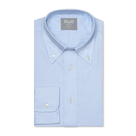 Budd Tailored Fit Plain Oxford Button Cuff Shirt in Sky Blue