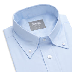Budd Tailored Fit Plain Oxford Button Cuff Shirt in Sky Blue-Ready Made Shirt-Sterling-and-Burke