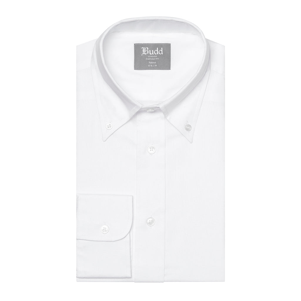 Budd Tailored Fit Plain Oxford Button Cuff Shirt in White-Ready Made Shirt-Sterling-and-Burke