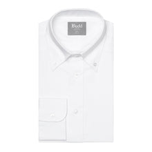 Load image into Gallery viewer, Budd Tailored Fit Plain Oxford Button Cuff Shirt in White-Ready Made Shirt-Sterling-and-Burke