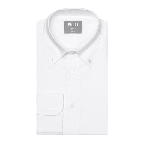 Budd Tailored Fit Plain Oxford Button Cuff Shirt in White
