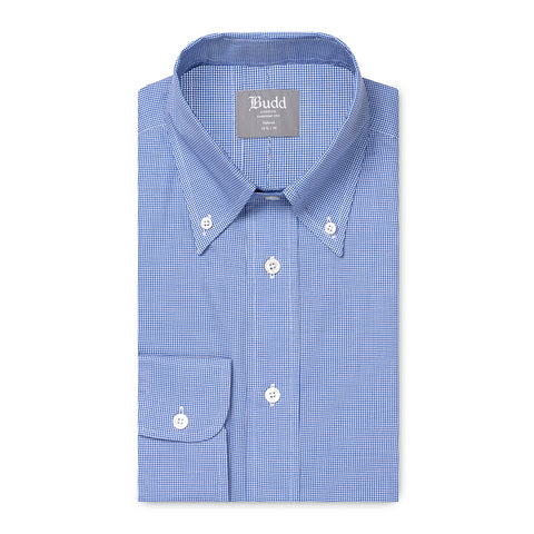 Budd Tailored Fit Micro Houndstooth Oxford Button Cuff Shirt in Blue