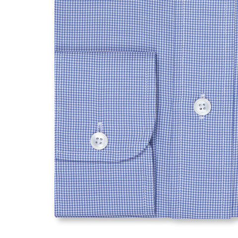 Budd Tailored Fit Micro Houndstooth Oxford Button Cuff Shirt in Blue-Ready Made Shirt-Sterling-and-Burke