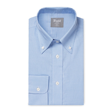Budd Tailored Fit Micro Houndstooth Oxford Button Cuff Shirt in Sky Blue