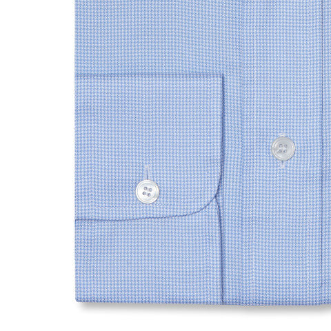 Budd Tailored Fit Micro Houndstooth Oxford Button Cuff Shirt in Sky Blue-Ready Made Shirt-Sterling-and-Burke