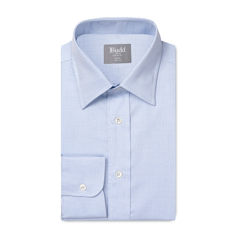 Budd Tailored Fit Fine Arrow Head Easy Care Cotton Button Cuff Shirt in Sky Blue
