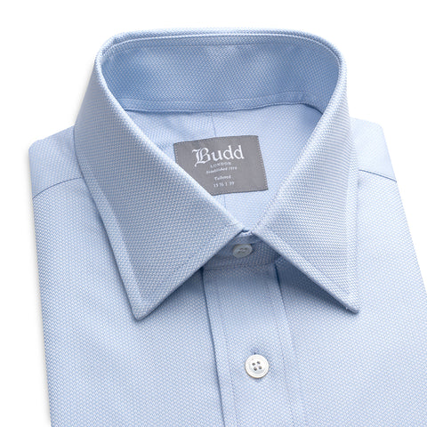 Budd Tailored Fit Fine Arrow Head Easy Care Cotton Button Cuff Shirt in Sky Blue-Ready Made Shirt-Sterling-and-Burke