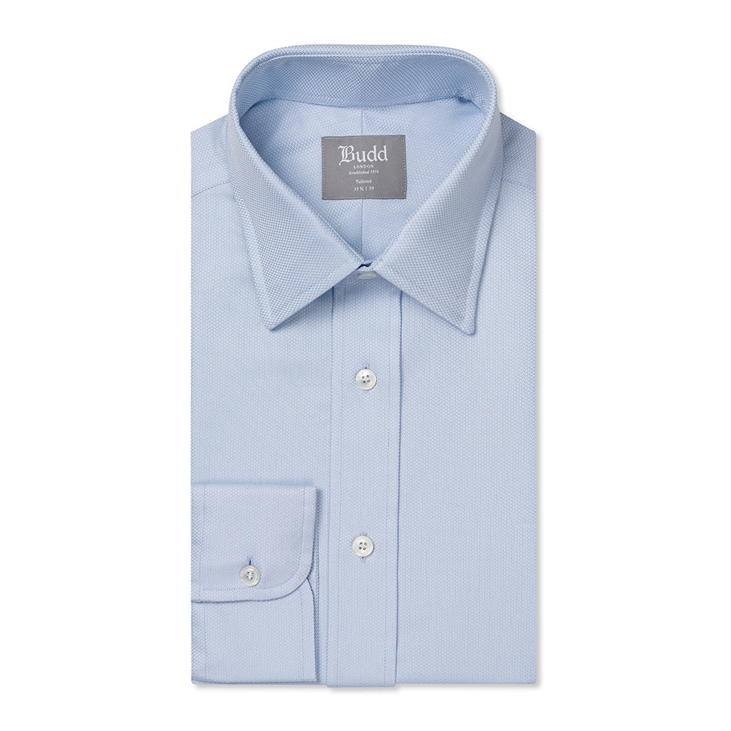 Budd Tailored Fit Geometric Dashes Easy Care Cotton Button Cuff Shirt in Sky Blue-Ready Made Shirt-Sterling-and-Burke