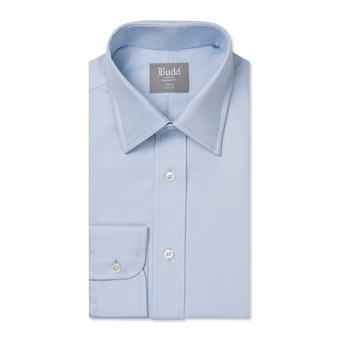 Budd Tailored Fit Geometric Dashes Easy Care Cotton Button Cuff Shirt in Sky Blue