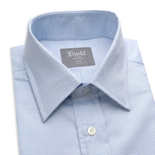 Load image into Gallery viewer, Budd Tailored Fit Geometric Dashes Easy Care Cotton Button Cuff Shirt in Sky Blue-Ready Made Shirt-Sterling-and-Burke