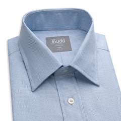 Budd Tailored Fit Fine Herringbone Easy Care Cotton Button Cuff Shirt in Sky Blue-Ready Made Shirt-Sterling-and-Burke