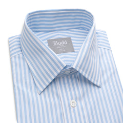 Budd Tailored Fit Wide Bengal Stripe Easy Care Twill Button Cuff Shirt in Sky Blue-Ready Made Shirt-Sterling-and-Burke