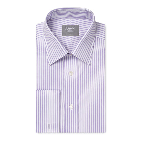Budd Tailored Fit Wide Bengal Stripe Easy Care Twill Button Cuff Shirt in Lilac