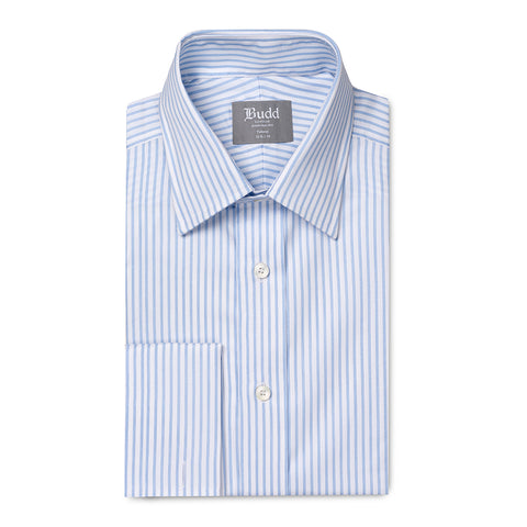 Budd Tailored Fit Wide Bengal Stripe Easy Care Twill Button Cuff Shirt in Sky Blue