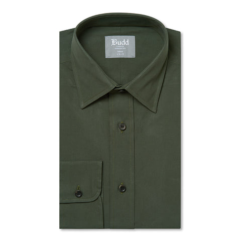 Budd Tailored Fit Plain Peached Twill Button Cuff Shirt in Khaki