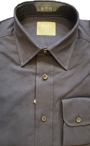 Budd Tailored Fit Plain Peached Twill Button Cuff Shirt in Navy