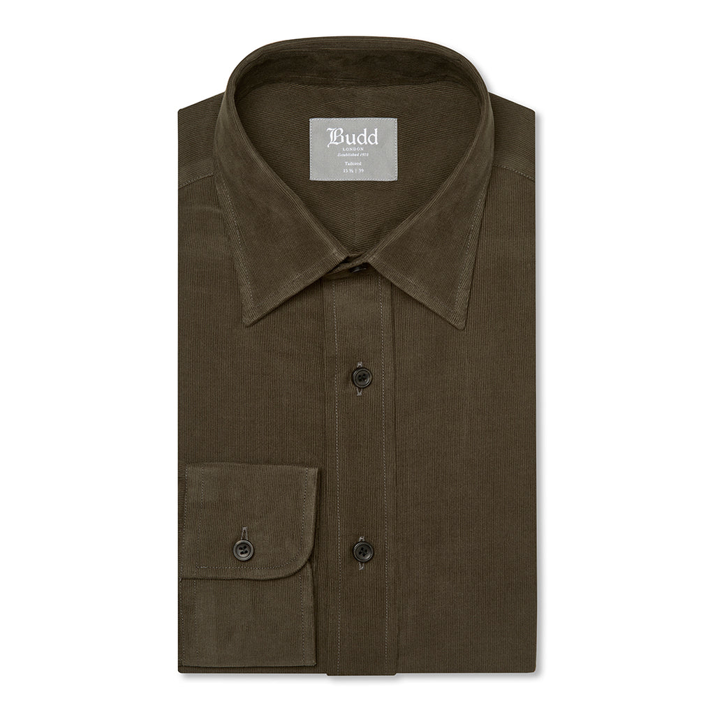 Budd Tailored Fit Plain Fine Corduroy Button Cuff Shirt in Brown-Ready Made Shirt-Sterling-and-Burke