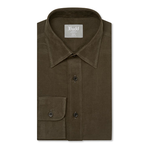 Budd Tailored Fit Plain Fine Corduroy Button Cuff Shirt in Brown