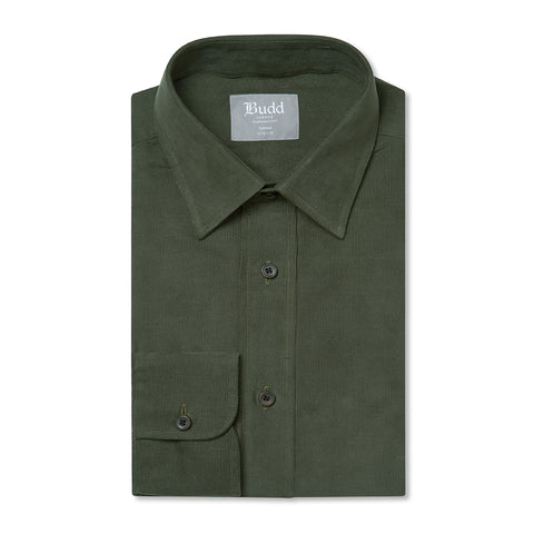 Budd Tailored Fit Plain Fine Corduroy Button Cuff Shirt in Green