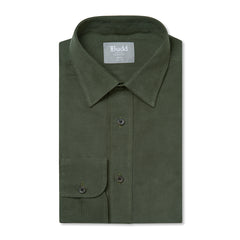 Budd Tailored Fit Plain Fine Corduroy Button Cuff Shirt in Green-Ready Made Shirt-Sterling-and-Burke