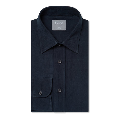 Budd Tailored Fit Plain Fine Corduroy Button Cuff Shirt in Navy