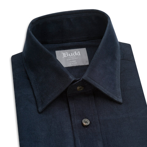 Budd Tailored Fit Plain Fine Corduroy Button Cuff Shirt in Navy-Ready Made Shirt-Sterling-and-Burke