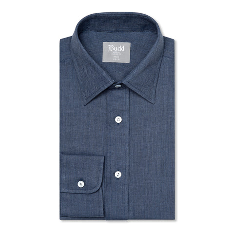 Budd Tailored Fit Micro Check Brushed Cotton Button Cuff Shirt in Blue