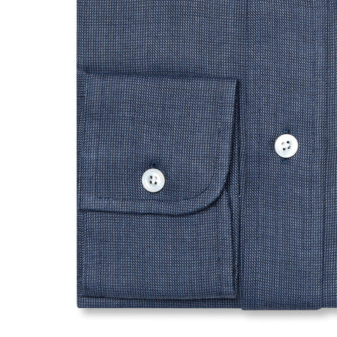 Budd Tailored Fit Micro Check Brushed Cotton Button Cuff Shirt in Blue-Ready Made Shirt-Sterling-and-Burke