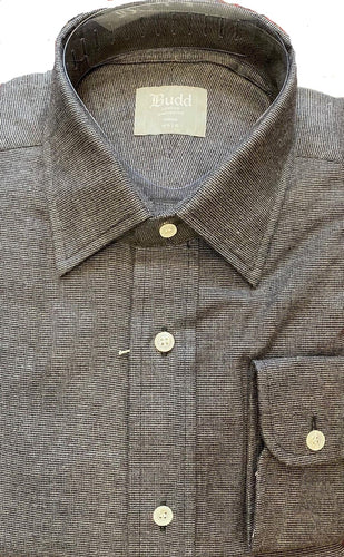 Budd Tailored Fit Micro Check Brushed Cotton Button Cuff Shirt in Grey-Ready Made Shirt-Sterling-and-Burke