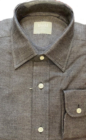 Budd Tailored Fit Micro Check Brushed Cotton Button Cuff Shirt in Grey