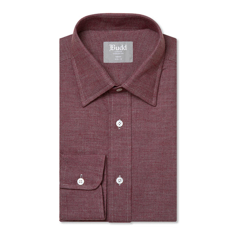Budd Tailored Fit Micro Check Brushed Cotton Button Cuff Shirt in Red