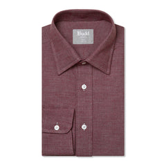 Budd Tailored Fit Micro Check Brushed Cotton Button Cuff Shirt in Red-Ready Made Shirt-Sterling-and-Burke