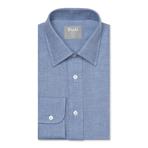 Budd Tailored Fit Micro Check Brushed Cotton Button Cuff Shirt in Sky Blue