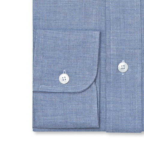 Budd Tailored Fit Micro Check Brushed Cotton Button Cuff Shirt in Sky Blue-Ready Made Shirt-Sterling-and-Burke
