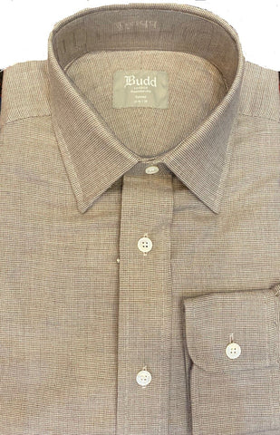 Budd Tailored Fit Micro Check Brushed Cotton Button Cuff Shirt in Tan