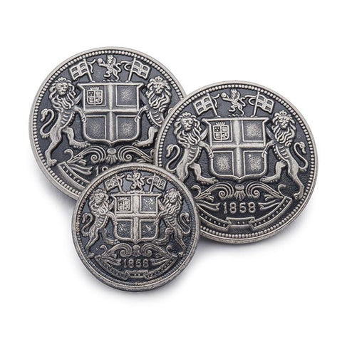 East India Company Blazer Button Set | Antique Silver Blazer Buttons | Made in UK