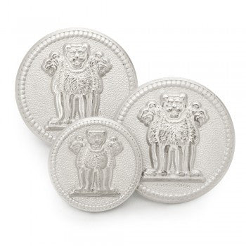 Three Lions of Ashoka Silver Blazer Buttons Set-Blazer Buttons-Sterling-and-Burke