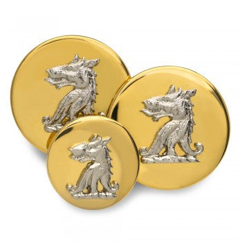 Wolf Head Nickel Mounted Blazer Button