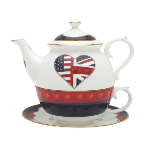 Fine English Bone China | Tea Pot for One | Special Relationship | Black | Halcyon Days