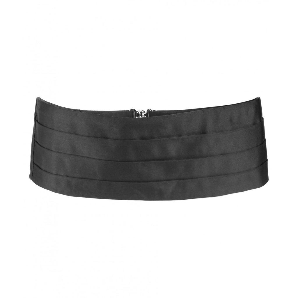 Budd Plain Satin Silk Cummerbund in Black-Cummerbund-Sterling-and-Burke