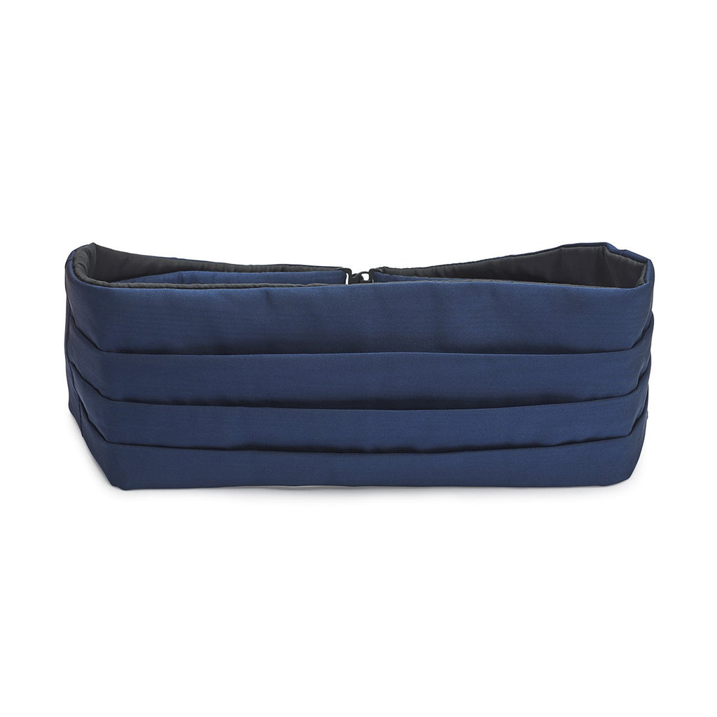 Budd Plain Moire Silk Cummerbund in Navy-Cummerbund-Sterling-and-Burke