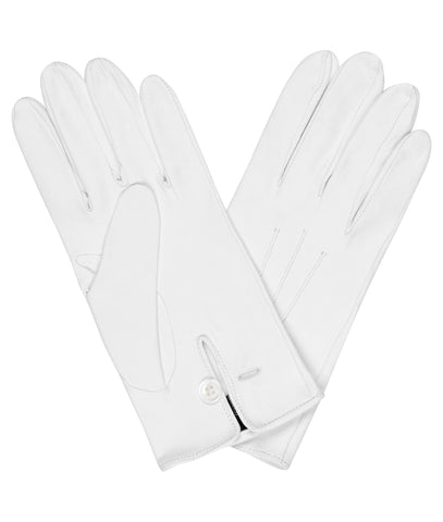 Budd Plain Leather Gloves in White