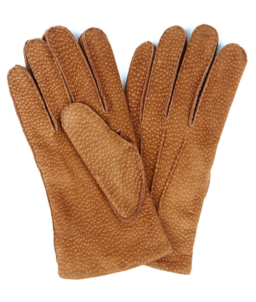 Budd Buffed Hogskin Cashmere Lined Gloves in Tan-Gloves-Sterling-and-Burke